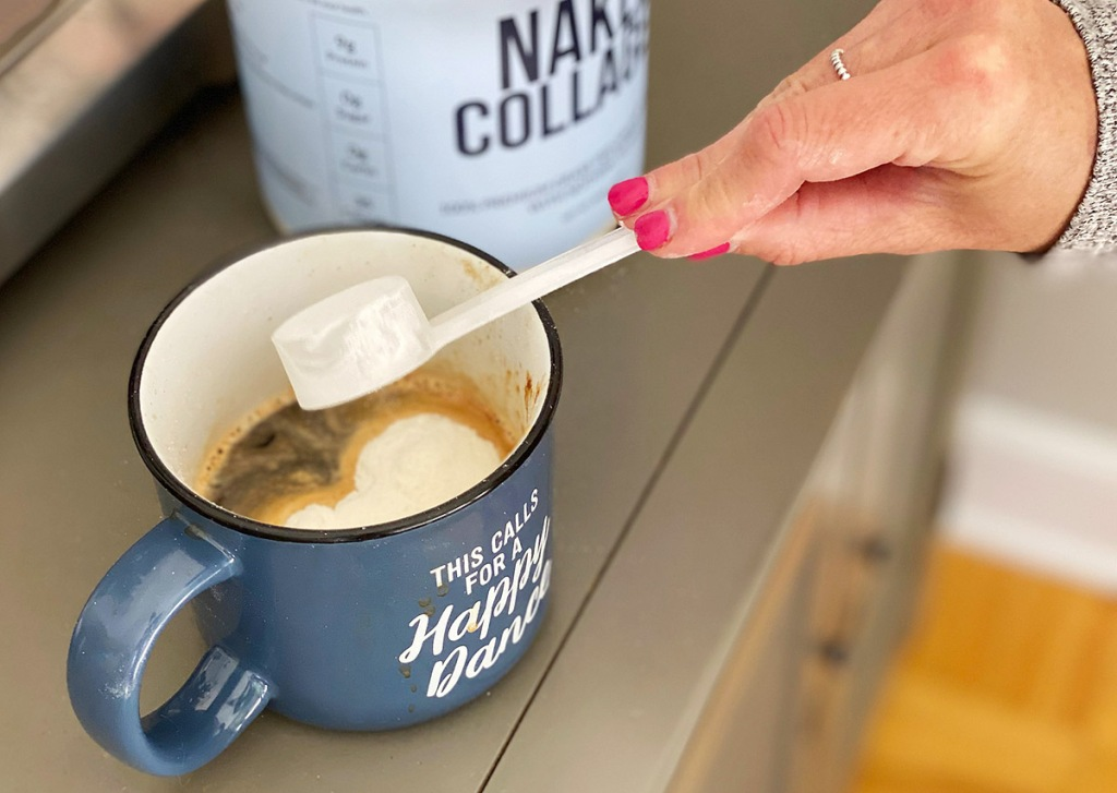 naked collagen powder added to coffee