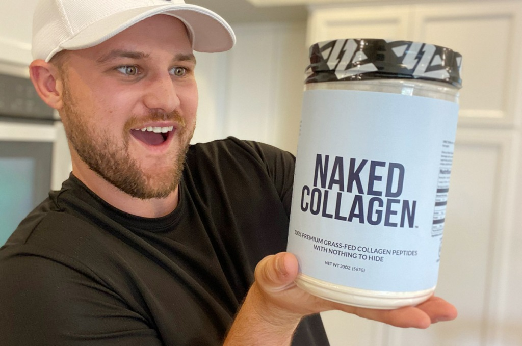 man holding container of naked collagen