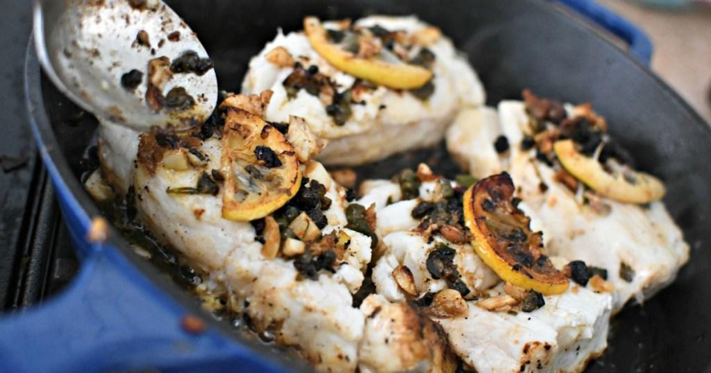 pan-seared halibut with lemon butter sauce