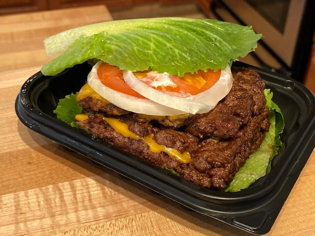 keto road trip snacks Wendy's Bunless Burger on table