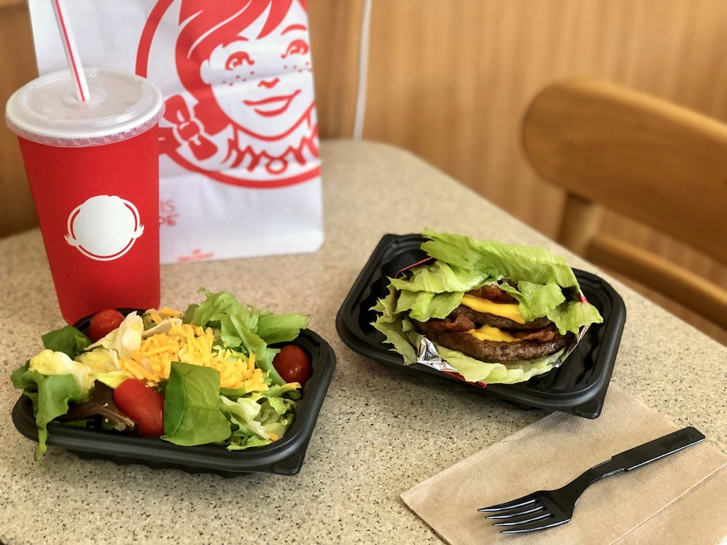 Wendy's keto meal with side salad and bunless double cheeseburger