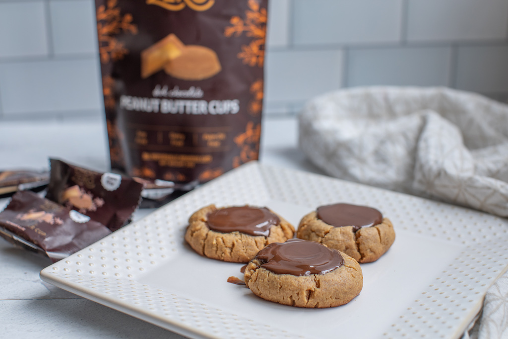 keto peanut butter cup cookies on plate