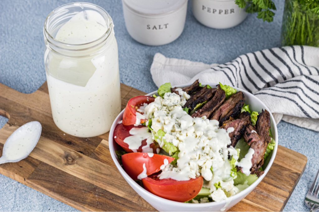 Bleu Cheese Dressing over steak salad