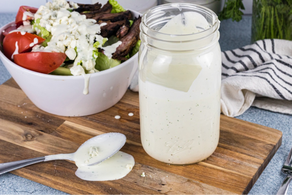 Bleu cheese dressing and salad