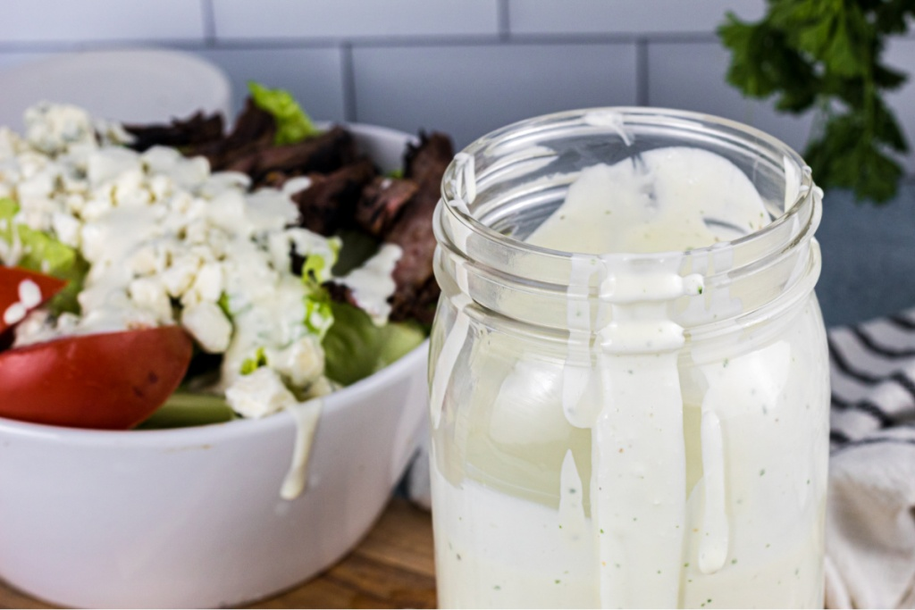 Close up of blue cheese dressing