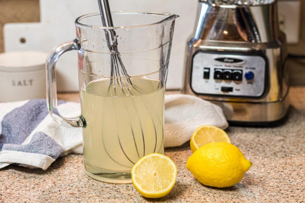 Homemade keto lemonade in a pitcher