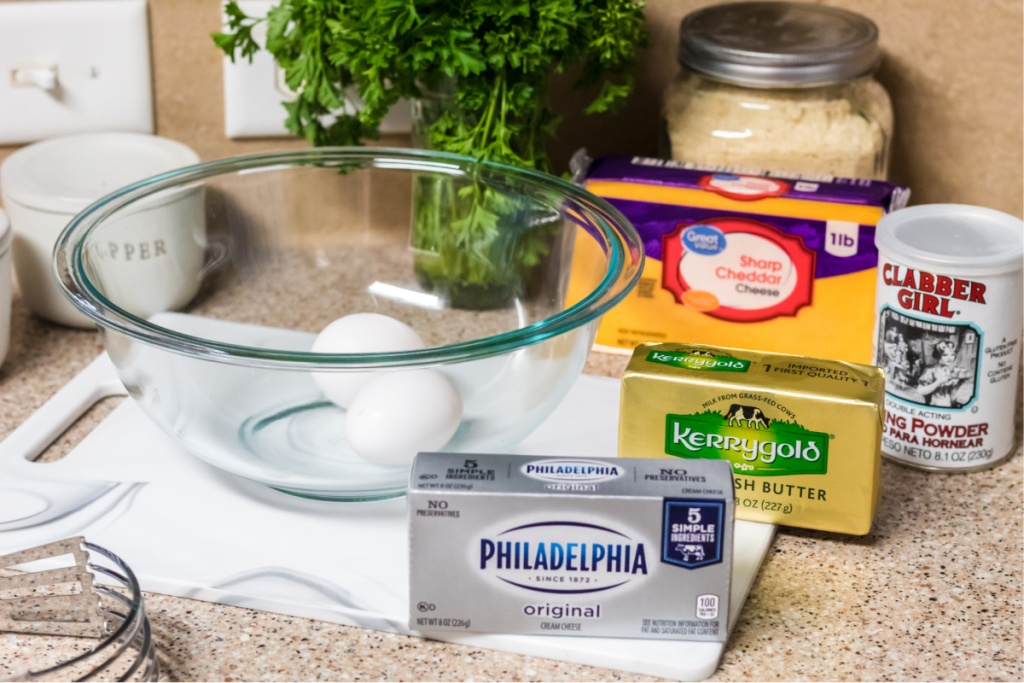 ingredients for keto loaded cheddar and bacon biscuits