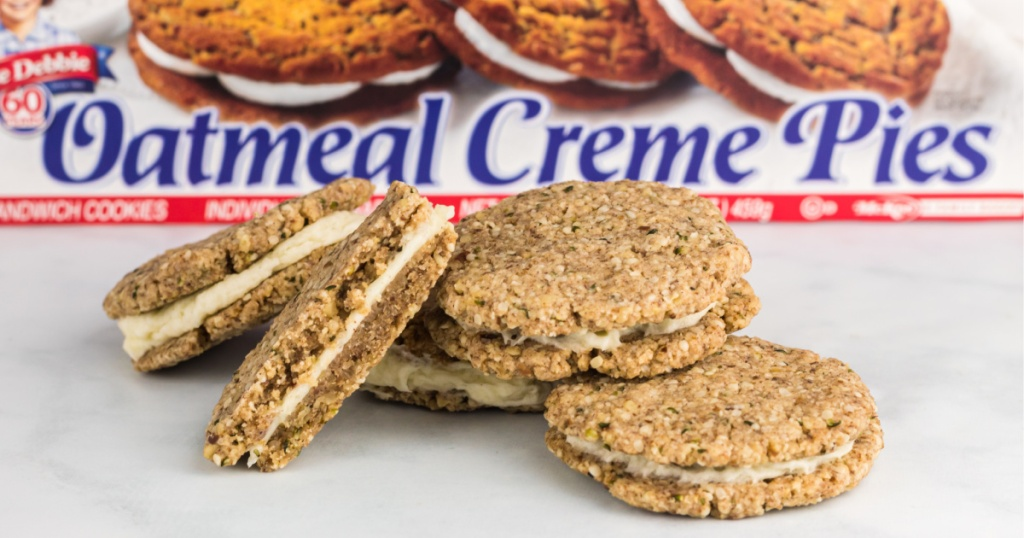 5 keto oatmeal cream pies on marble counter