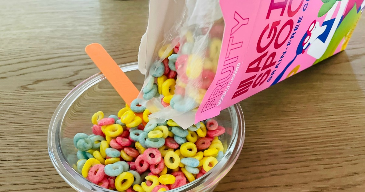 pouring bowl of Magic Spoon cereal
