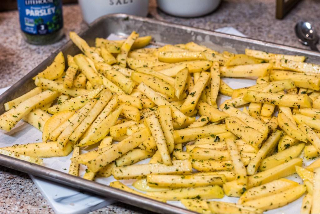Rutabaga fries on baking sheet