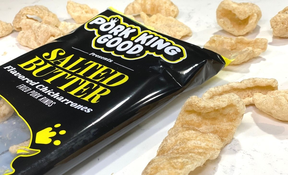Salted Butter pork rinds on a counter