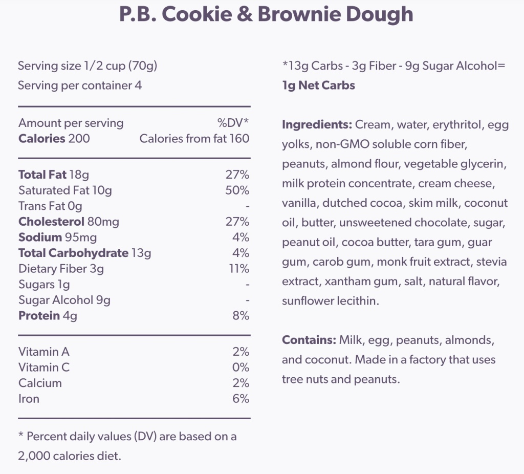 enlightened ice cream nutrition label