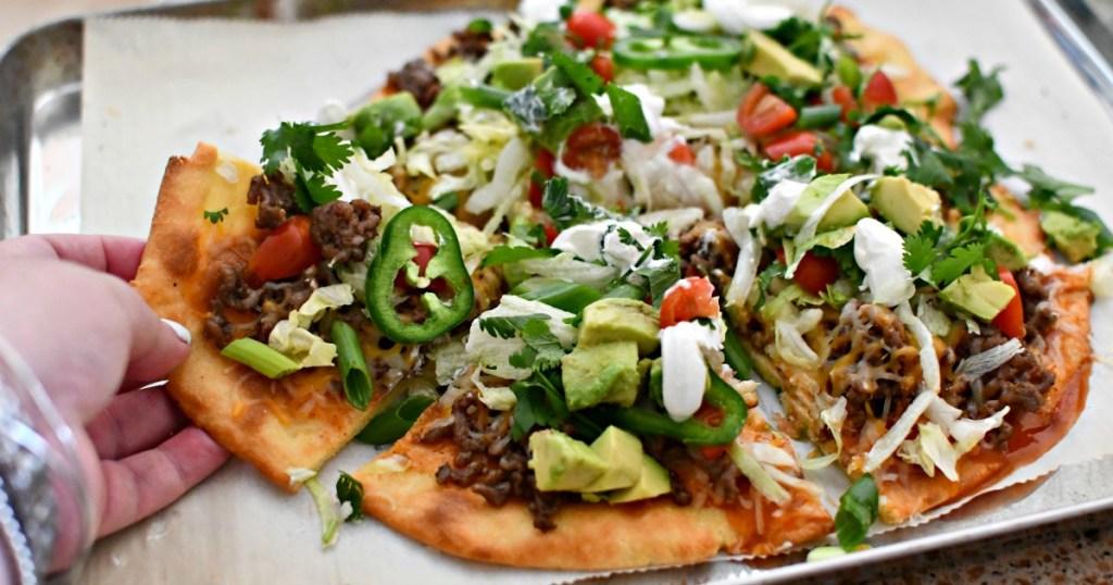 easy fathead keto taco pizza