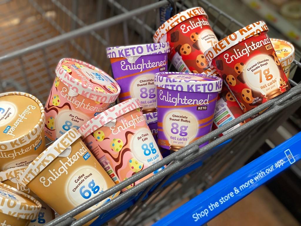 Enlightened ice cream pints in Walmart cart