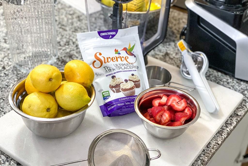 ingredients for keto strawberry lemonade