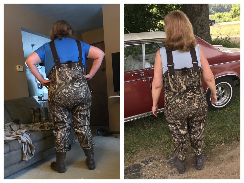 back of woman wearing camoflauge waders in side-by-side photo