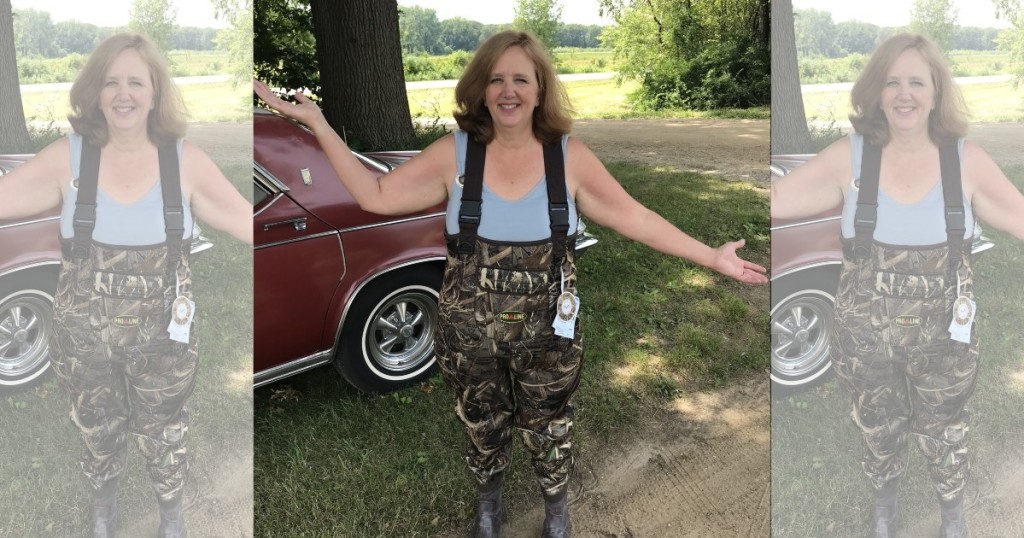 woman wearing hip waders