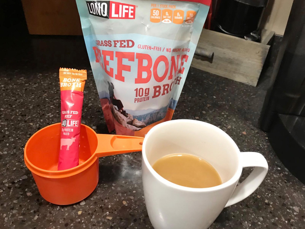 lono life bone broth in cup on counter