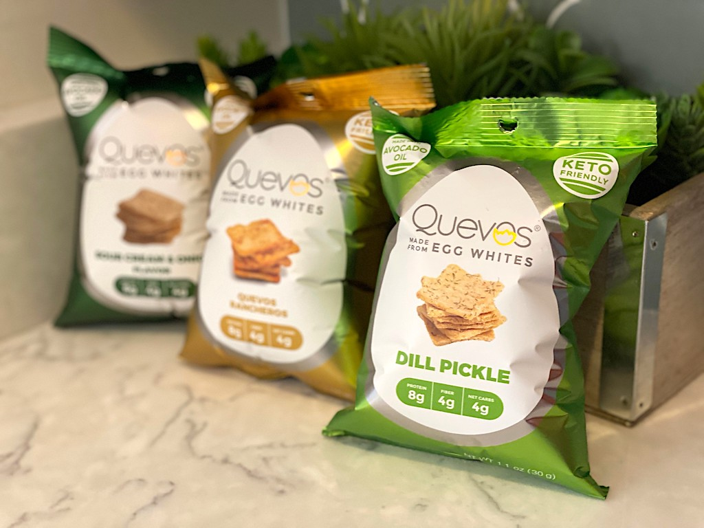 three bags of Quevos keto chips on counter