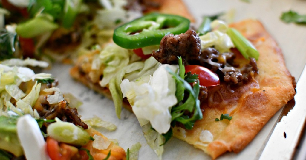 slice of keto taco pizza