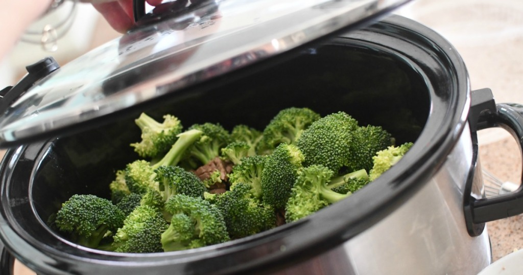 adding broccoli to slow cooker