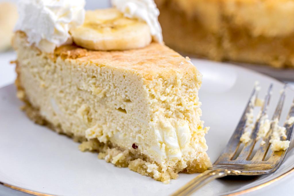 Keto Banana Pudding Cheesecake with bite taken