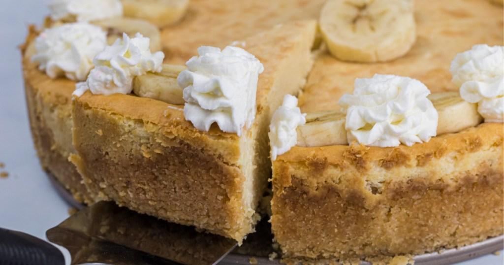 slice of keto banana cheesecake