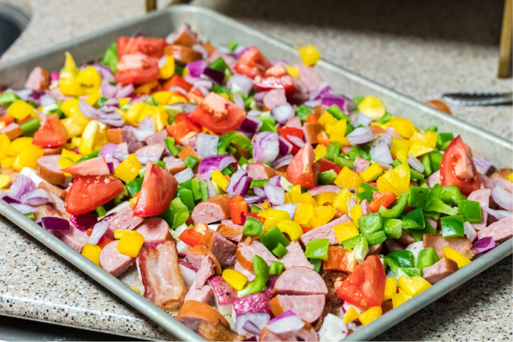 a sheet pan of veggies and meat