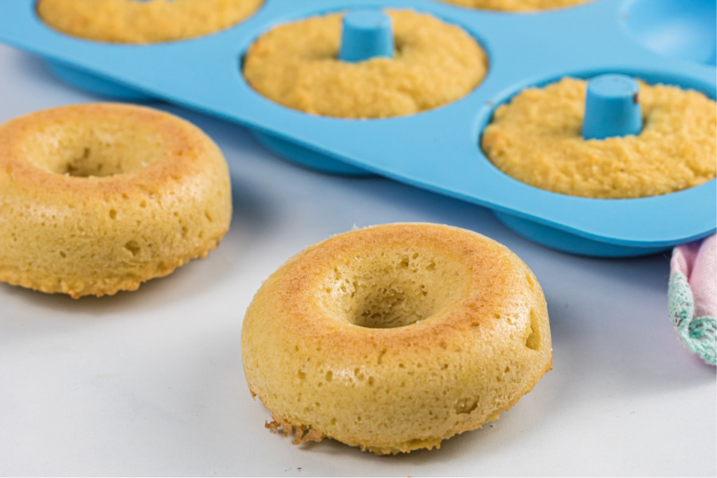 donuts in donut pan and on counter