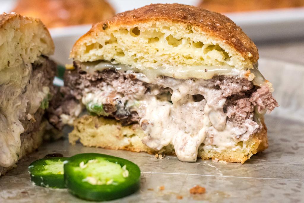 keto stuffed burger with jalapenos