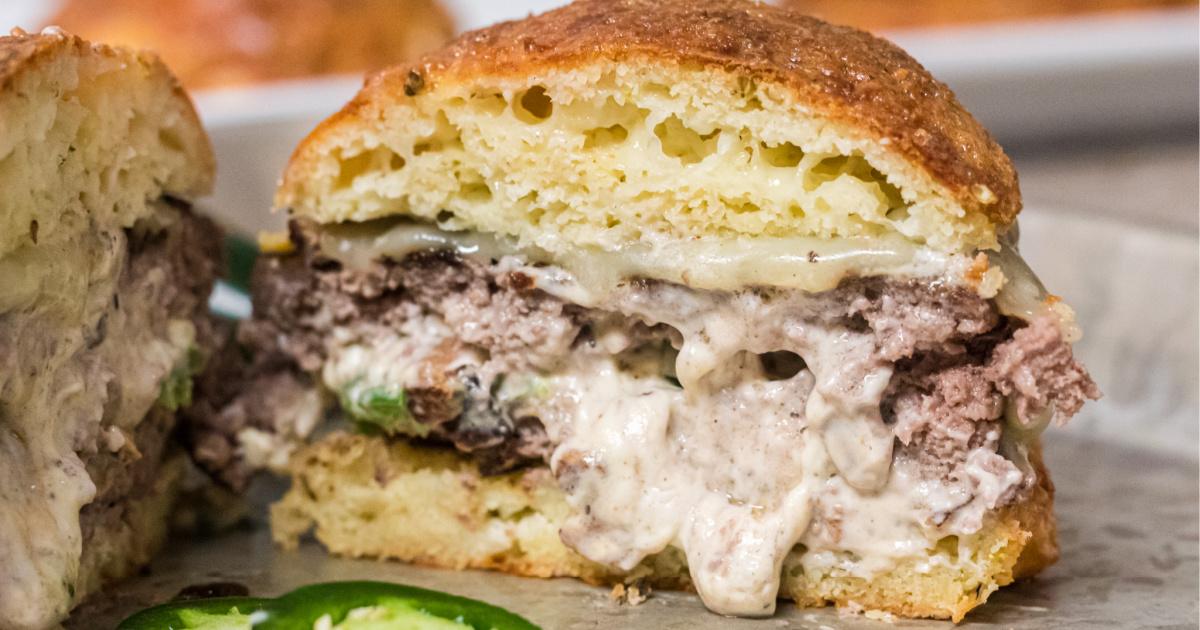 keto stuffed burger cut open