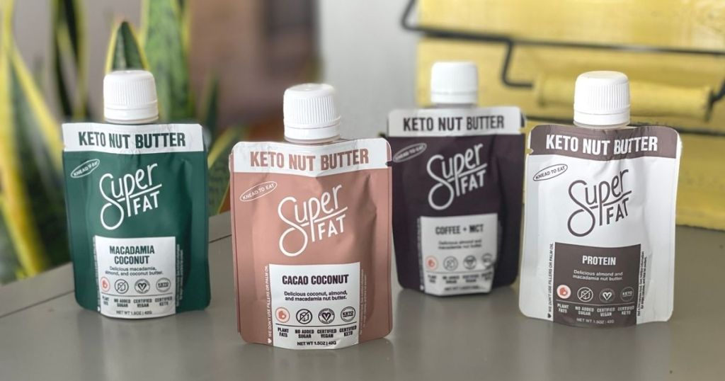 Superfat nut butter pouches on a counter