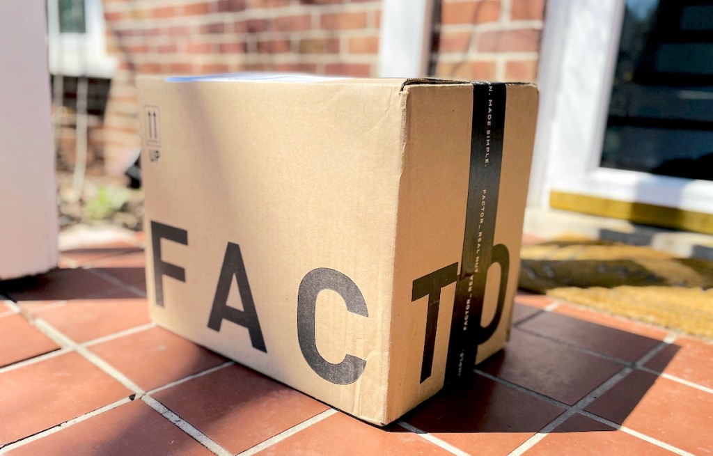 factor delivery box on front porch