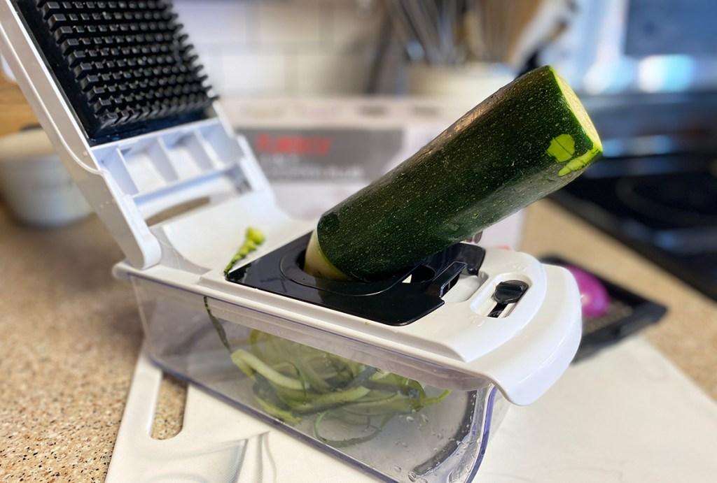 fullstar veggie spiralizer with zucchini in blade