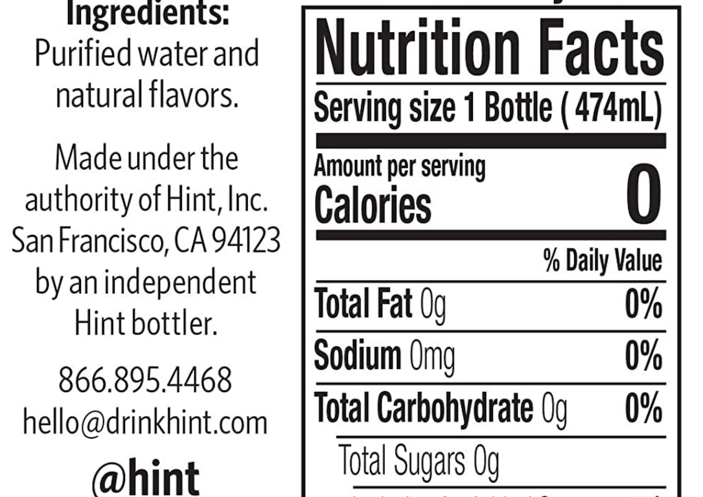 Hint water nutrition label