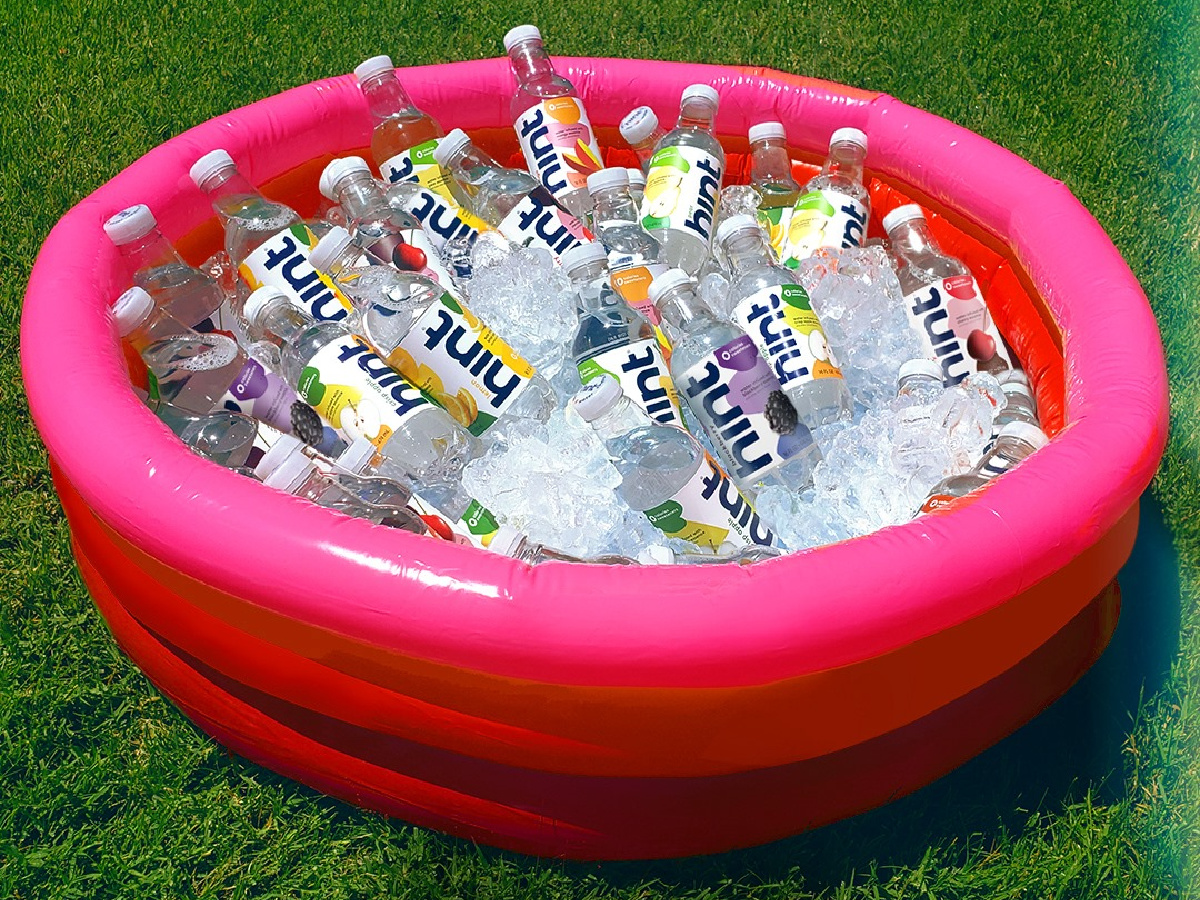 Hint water bottles in pool with ice