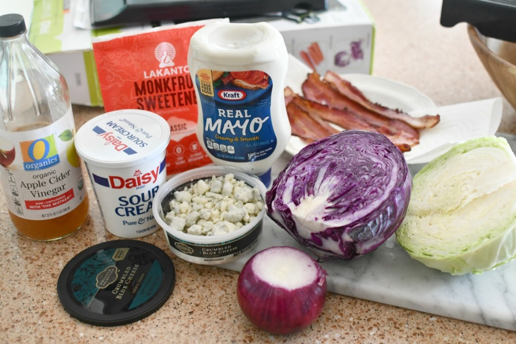 ingredients for blue cheese coleslaw