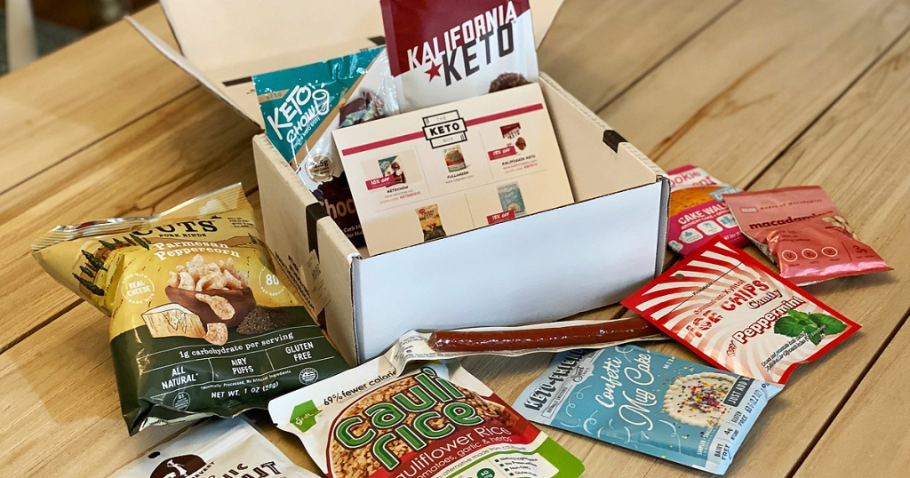 keto box snacks sitting on a table