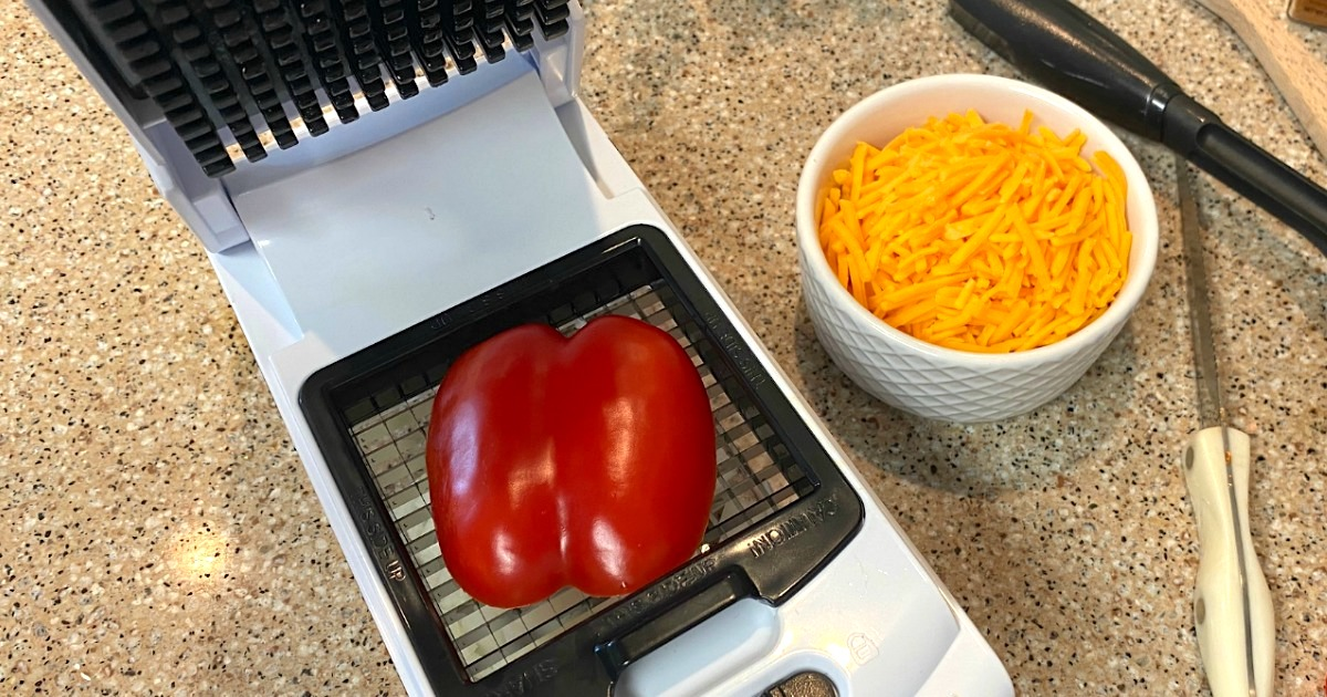 kitchen chopper with red bell pepper on top