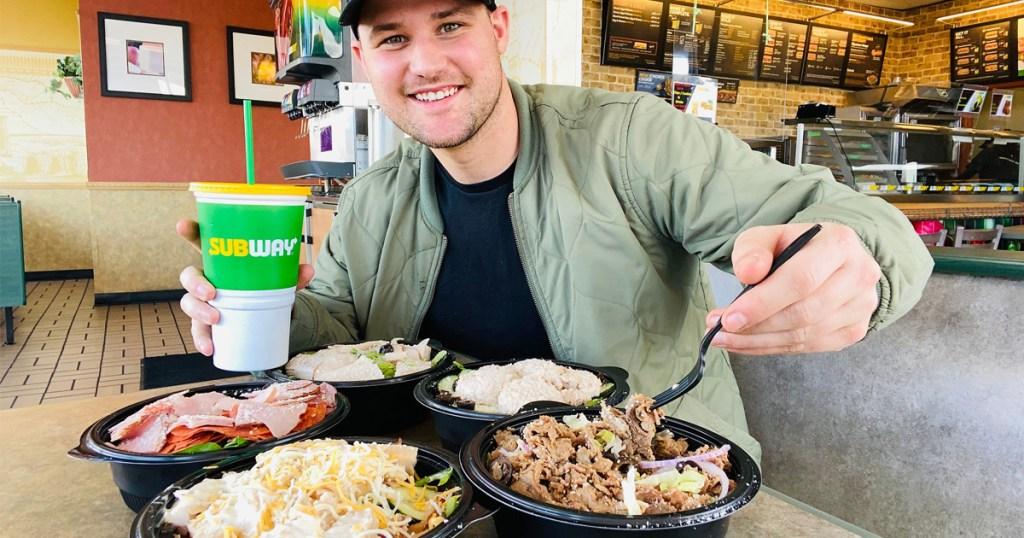 man dining at subway
