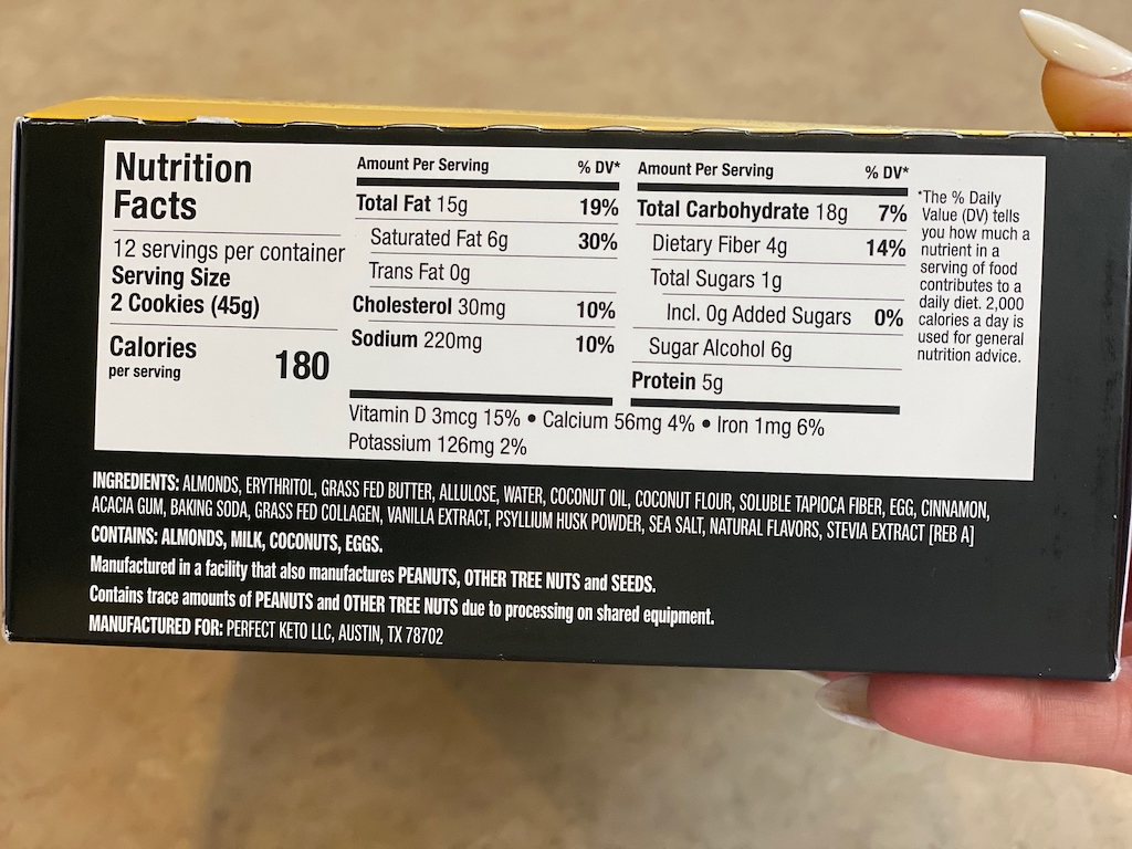 Perfect Keto box with nutritional info