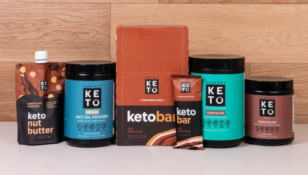 perfect keto products including keto bars, collagen, mct oil powder, and more
