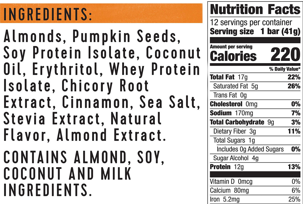 ingredients and nutrition facts