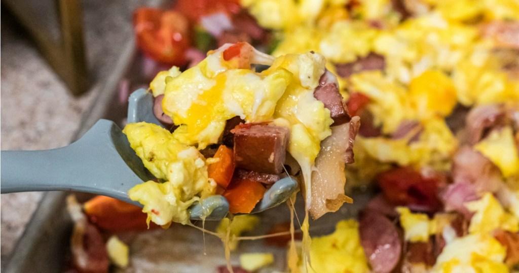 keto sheet pan breakfast on serving utensil