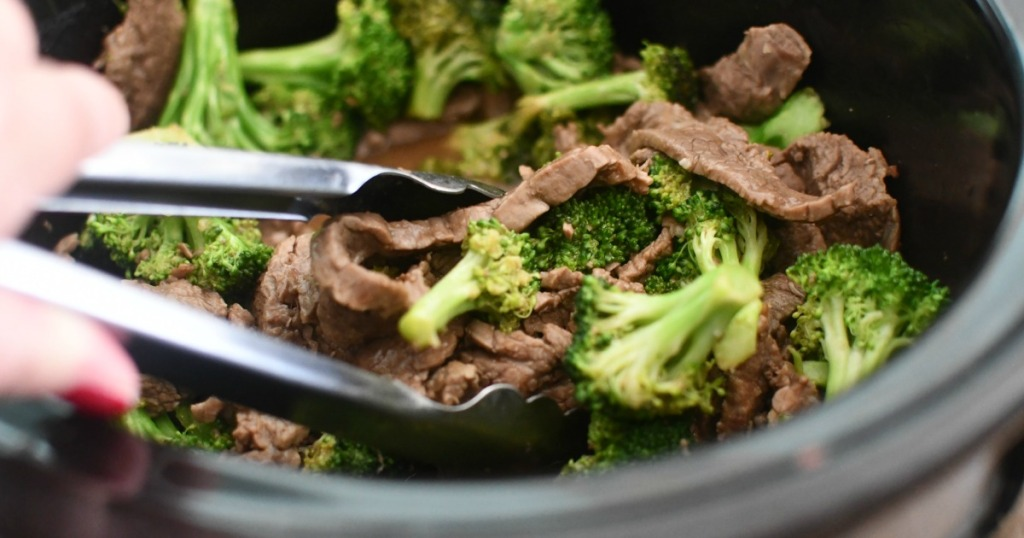 stirring beef & broccoli in the slow cooker