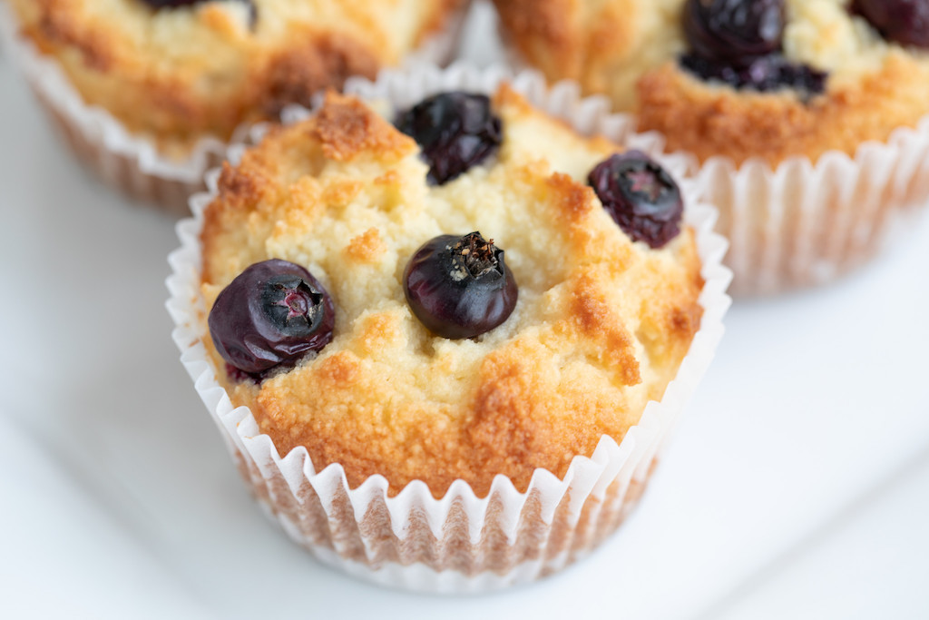 close up of keto blueberry muffin