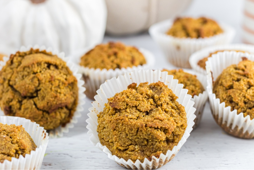 keto pumpkin muffins on counter