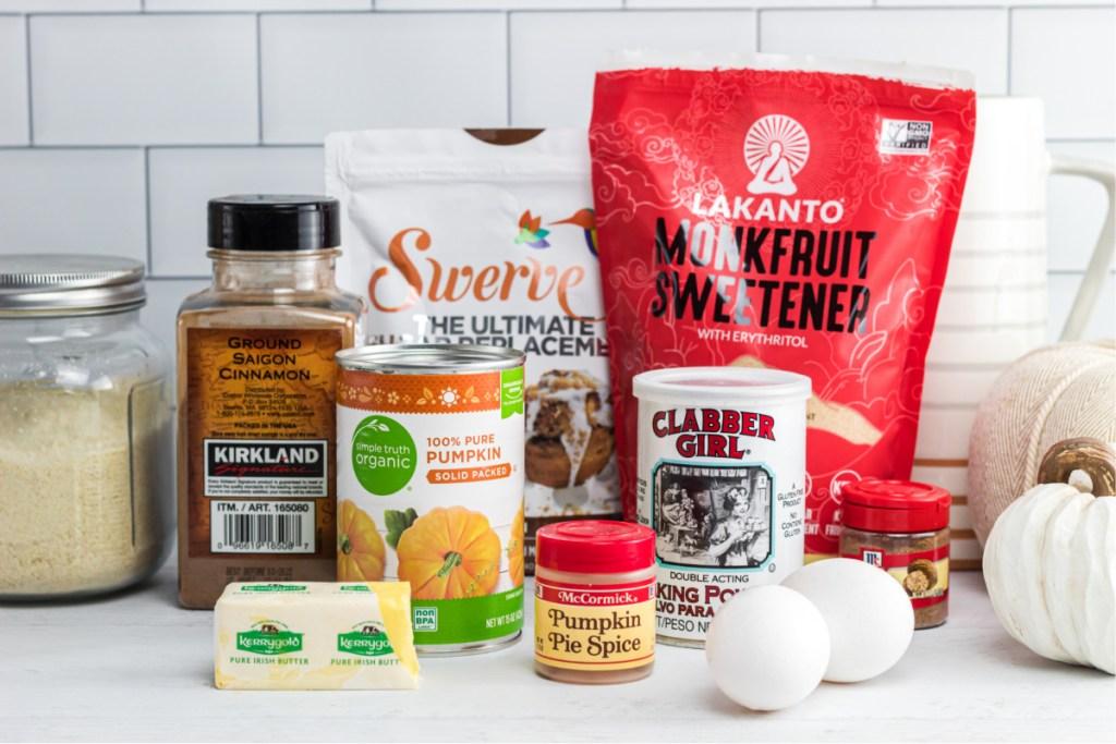 ingredients for keto pumpkin muffins