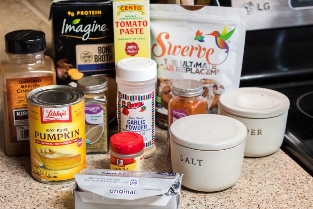 ingredients for keto pumpkin soup