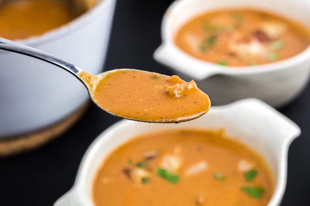 keto pumpkin soup on spoon